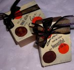 Handpainted favor boxes for Sarah and Josh's wedding 2008
