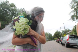 Kaeden waited outside the church to see his mom :)